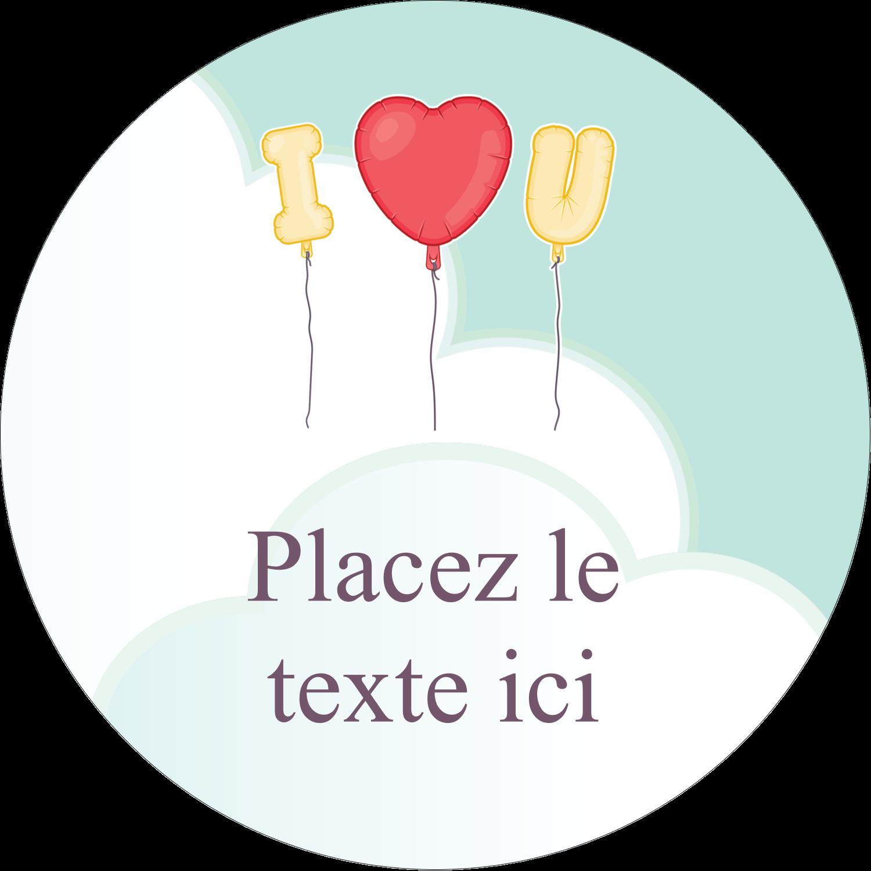 """3"""" Diameter Étiquettes rondes - Ballon d'amour de Saint-Valentin"""