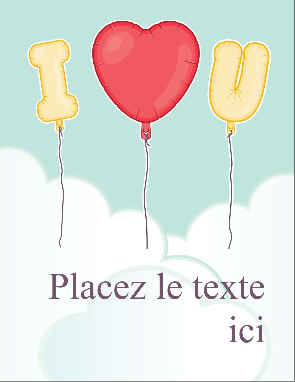"""5½"""" x 4¼"""" Carte Postale - Ballon d'amour de Saint-Valentin"""