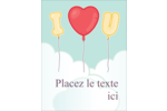 Ballon d'amour de Saint-Valentin Carte Postale - gabarit prédéfini. <br/>Utilisez notre logiciel Avery Design & Print Online pour personnaliser facilement la conception.