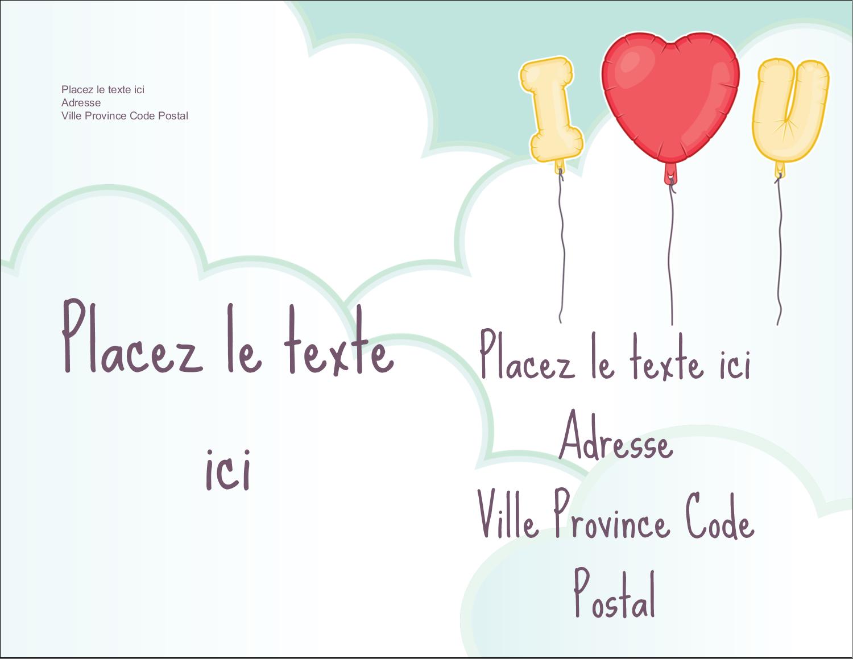 """4¼"""" X 5½"""" Carte Postale - Ballon d'amour de Saint-Valentin"""