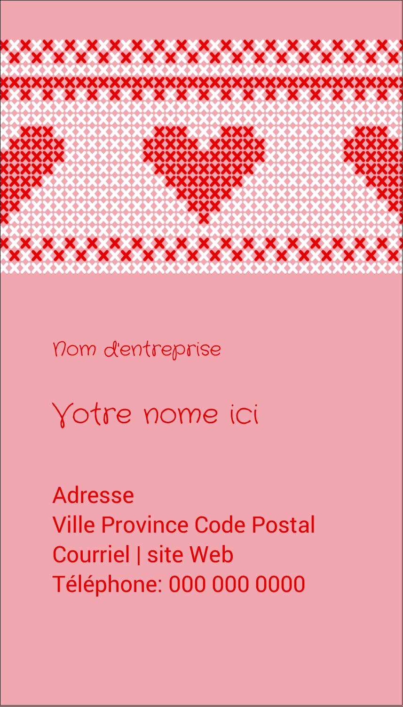 """2"""" x 3½"""" Carte d'affaire - Saint-Valentin en point de croix"""