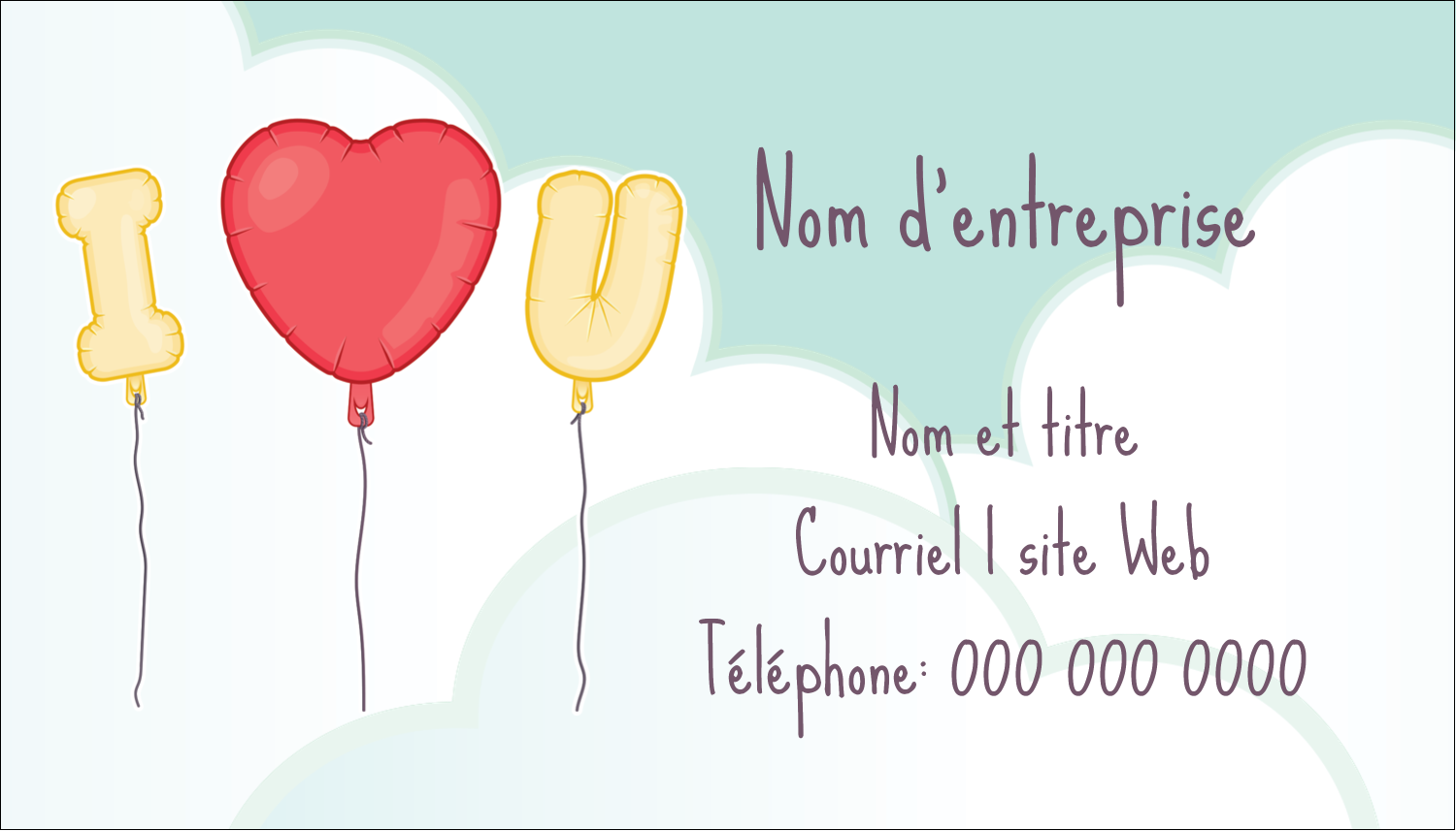"3½"" x 2"" Carte d'affaire - Ballon d'amour de Saint-Valentin"
