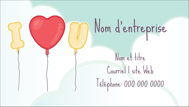 """3½"""" x 2"""" Carte d'affaire - Ballon d'amour de Saint-Valentin"""