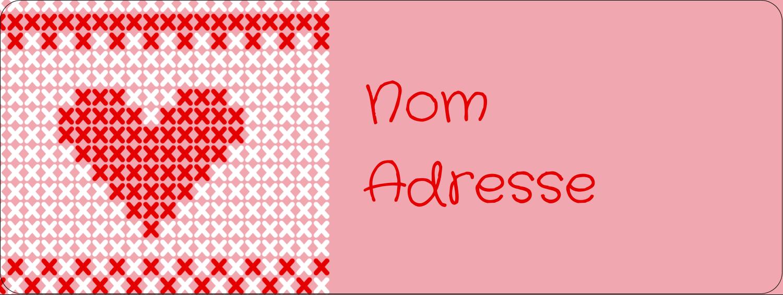 """⅔"""" x 1¾"""" Étiquettes D'Adresse - Saint-Valentin en point de croix"""