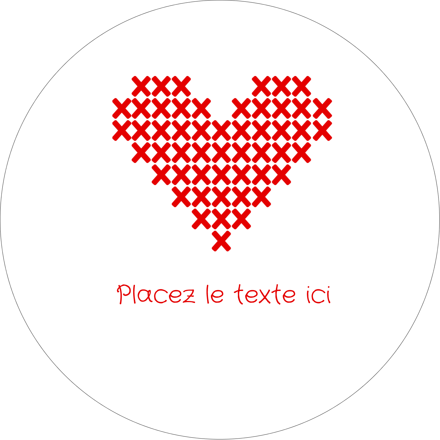 "4¾"" x 3½"" Étiquettes arrondies - Saint-Valentin en point de croix"