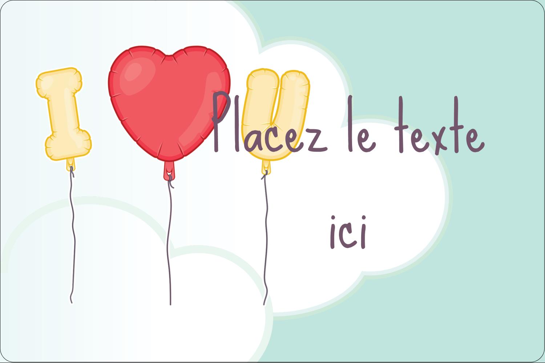 """3"""" x 3¾"""" Étiquettes rectangulaires - Ballon d'amour de Saint-Valentin"""