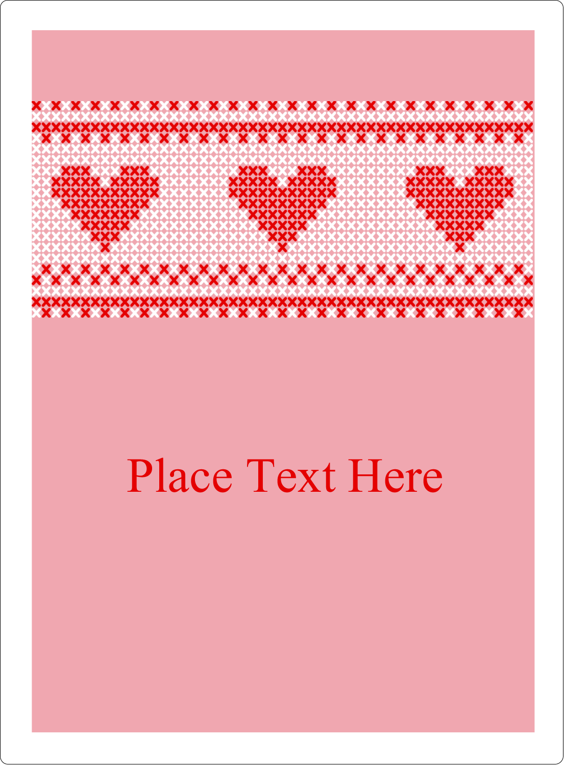 "4¾"" x 3½"" Rectangular Label - Valentine Cross Stitch"