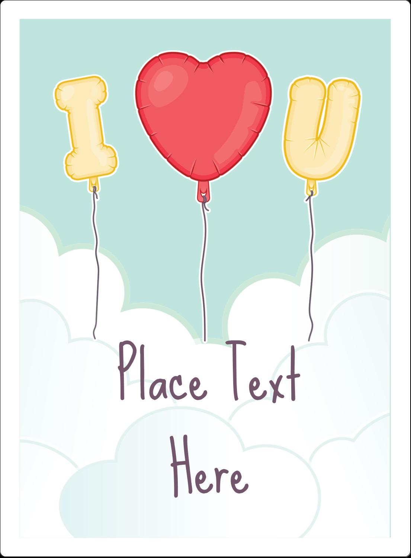 """4¾"""" x 3½"""" Rectangular Label - Valentine Balloon Love"""