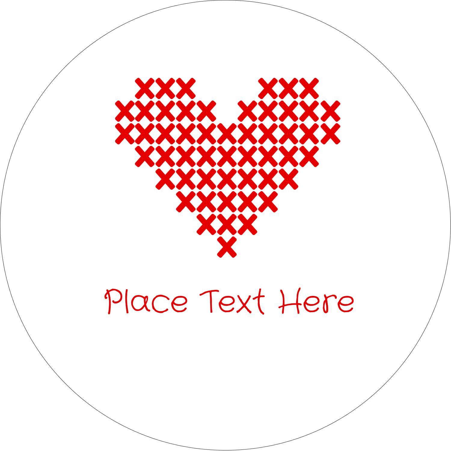 "2"" Embossed Round Label - Valentine Cross Stitch"