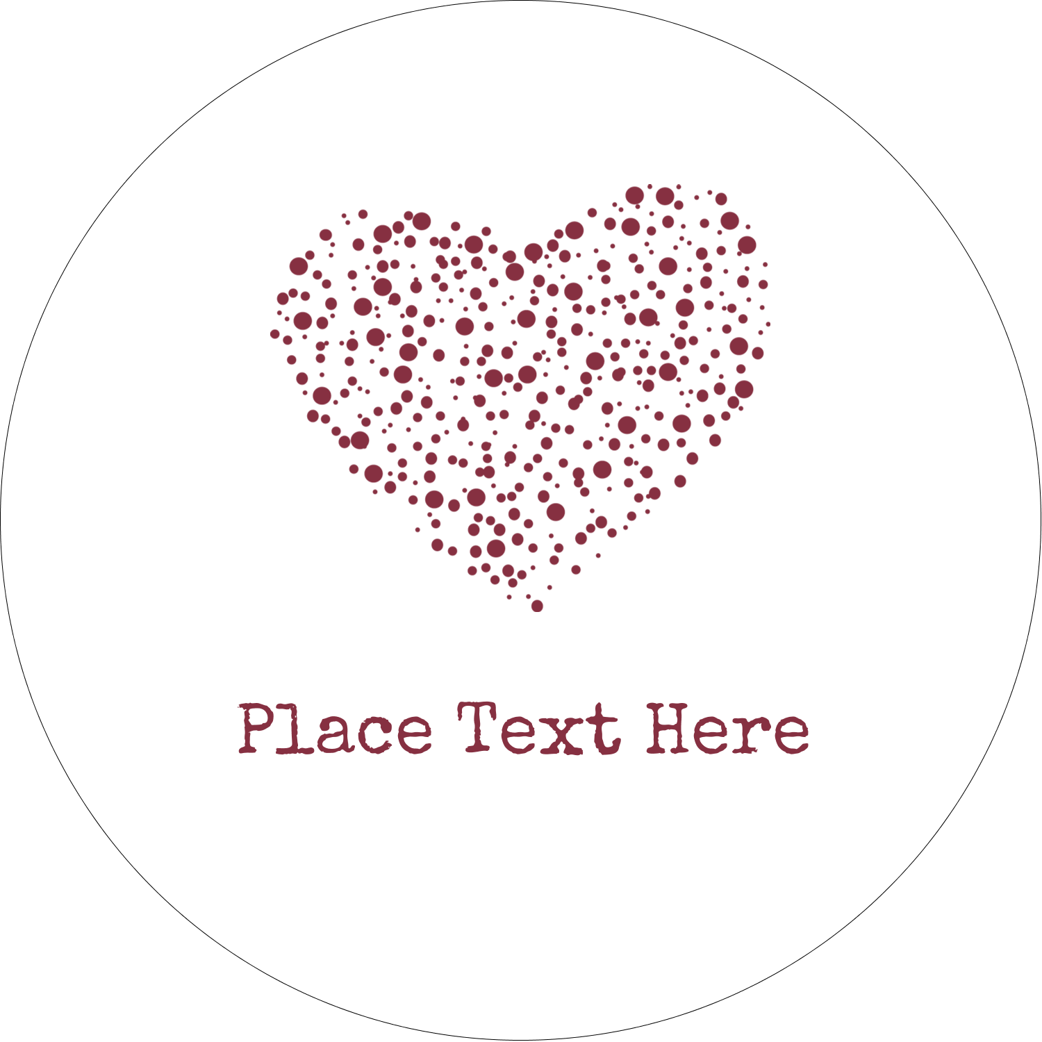 "2"" Embossed Round Label - Heart Spot"