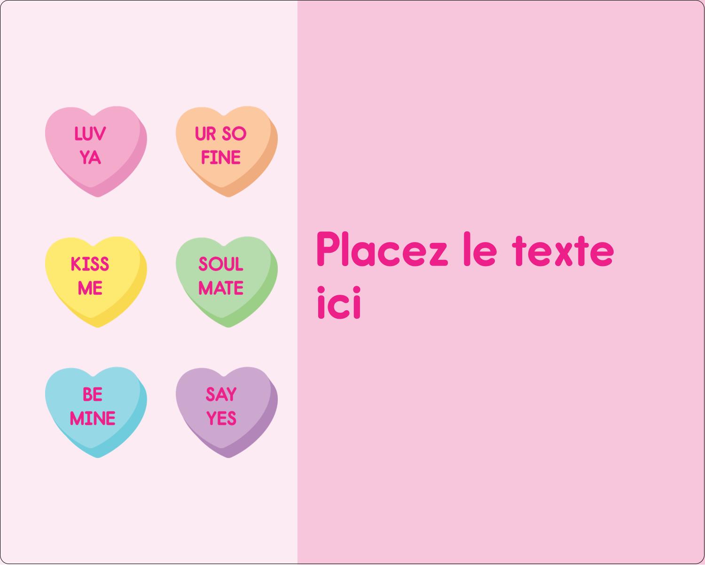 """2"""" Diameter Étiquettes rondes gaufrées - Bonbon en cœur de Saint-Valentin"""
