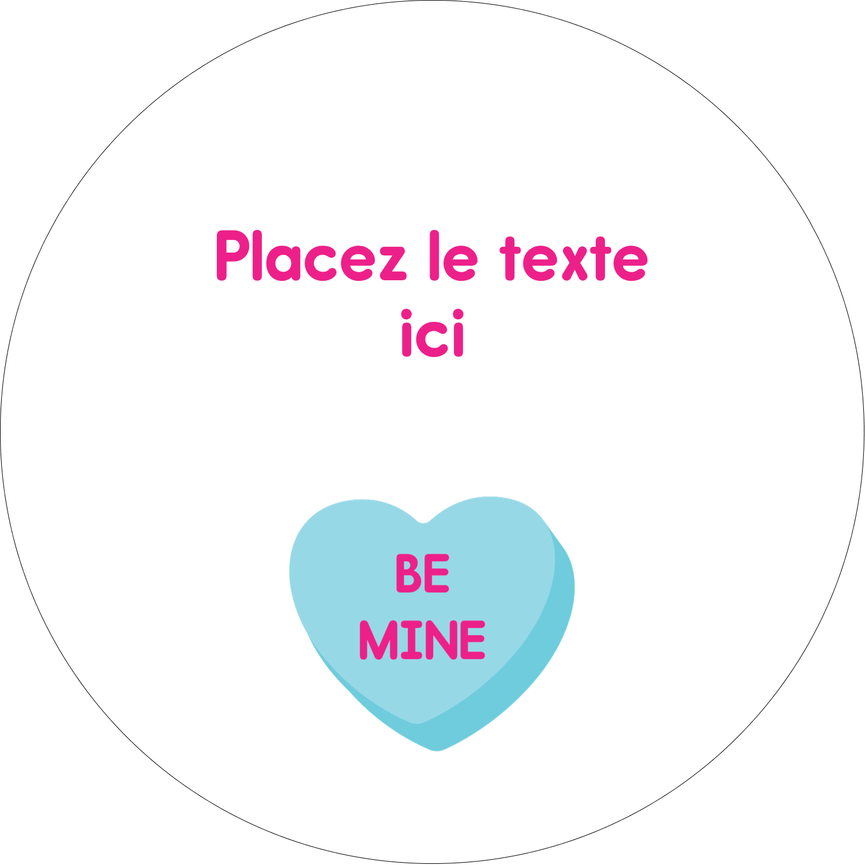 """4¾"""" x 3½"""" Étiquettes arrondies - Bonbon en cœur de Saint-Valentin"""