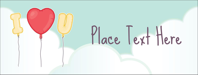 "1-7/16"" x 3¾"" Tent Card - Valentine Balloon Love"