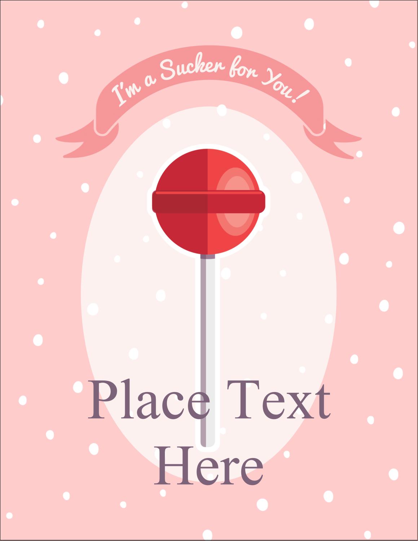 "5½"" x 4¼"" Postcard - Valentine Lollipop"