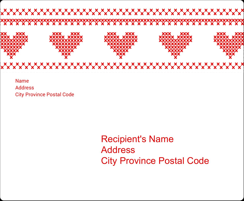 "3⅓"" x 4"" Shipping Label - Valentine Cross Stitch"