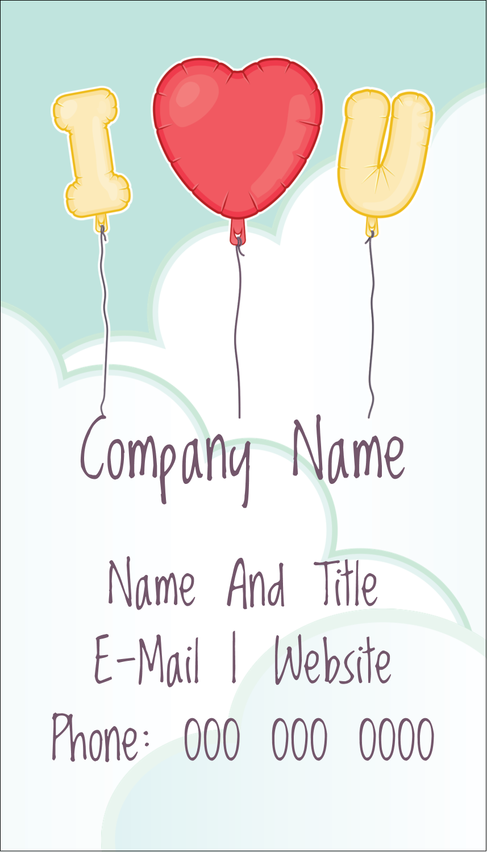 """3½"""" x 2"""" Business Card - Valentine Balloon Love"""