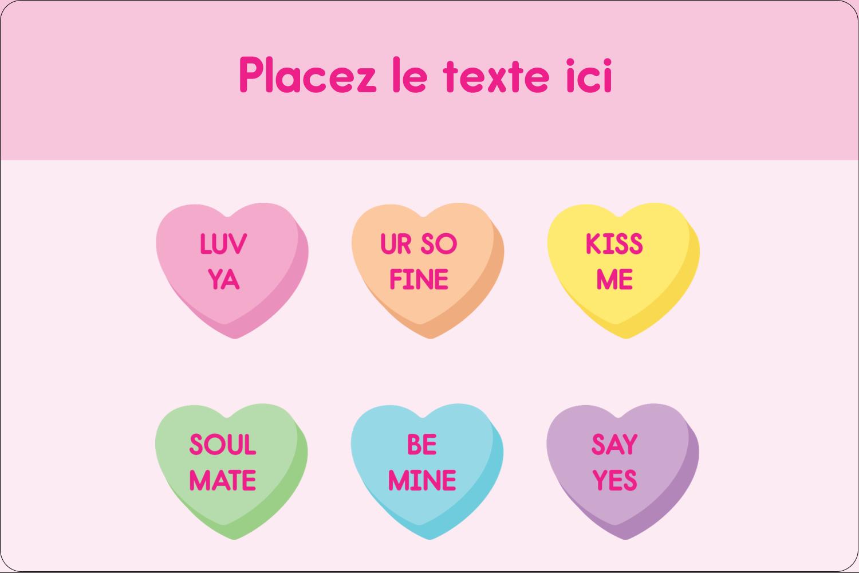 """3"""" x 3¾"""" Étiquettes rectangulaires - Bonbon en cœur de Saint-Valentin"""