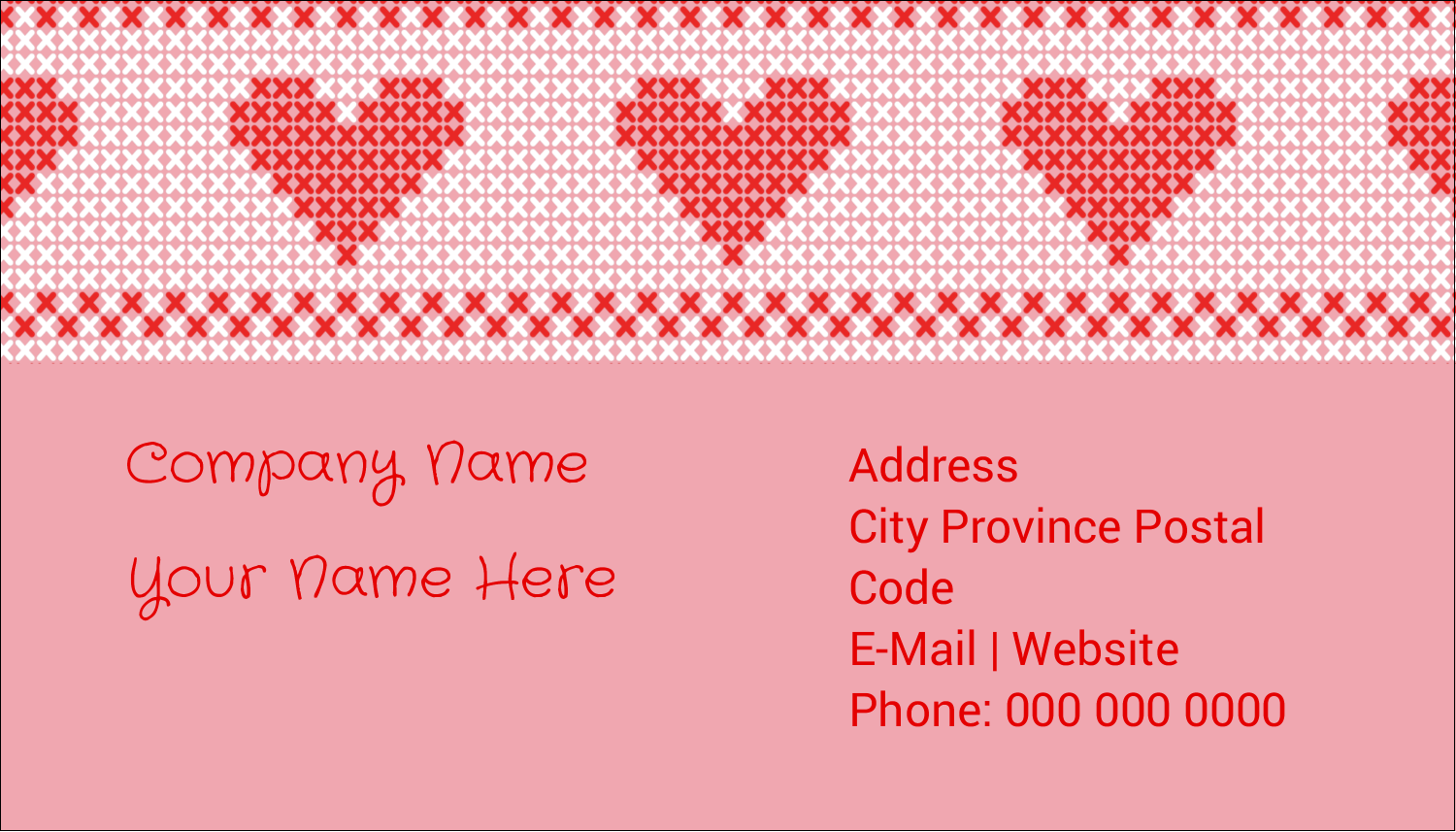 "2"" x 3½"" Business Card - Valentine Cross Stitch"