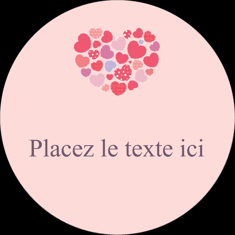 """3"""" Diameter Étiquettes rondes - Courtepointe en cœur"""