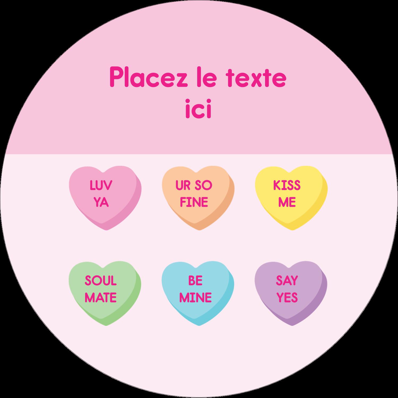 """3"""" Diameter Étiquettes rondes - Bonbon en cœur de Saint-Valentin"""