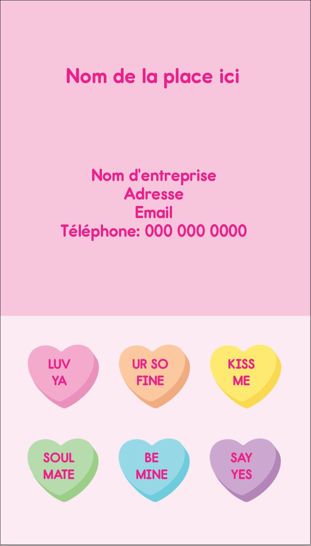 """3½"""" x 2"""" Carte d'affaire - Bonbon en cœur de Saint-Valentin"""