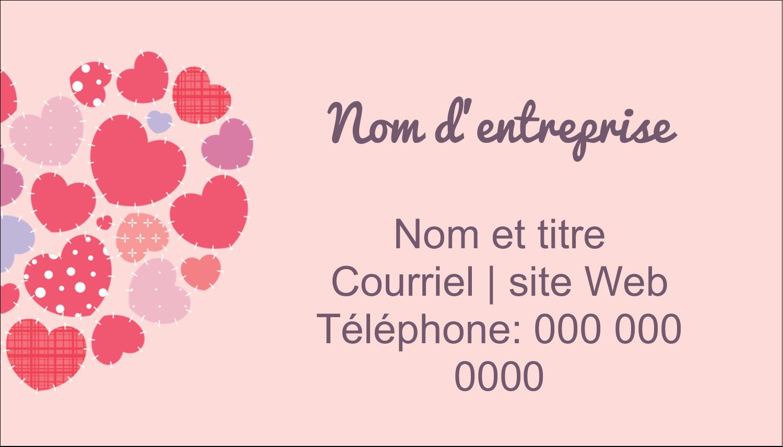 """3½"""" x 2"""" Carte d'affaire - Courtepointe en cœur"""