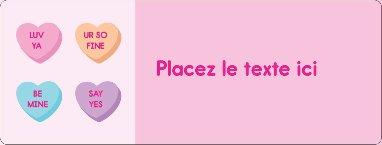 """½"""" x 1¾"""" Étiquettes D'Adresse - Bonbon en cœur de Saint-Valentin"""