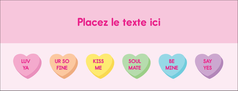 """1-7/16"""" x 3¾"""" Affichette - Bonbon en cœur de Saint-Valentin"""