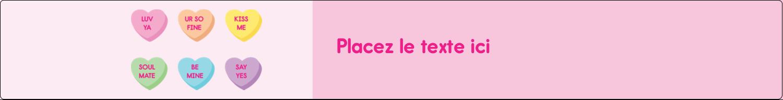 """1½"""" x 2½"""" Étiquettes ovales - Bonbon en cœur de Saint-Valentin"""