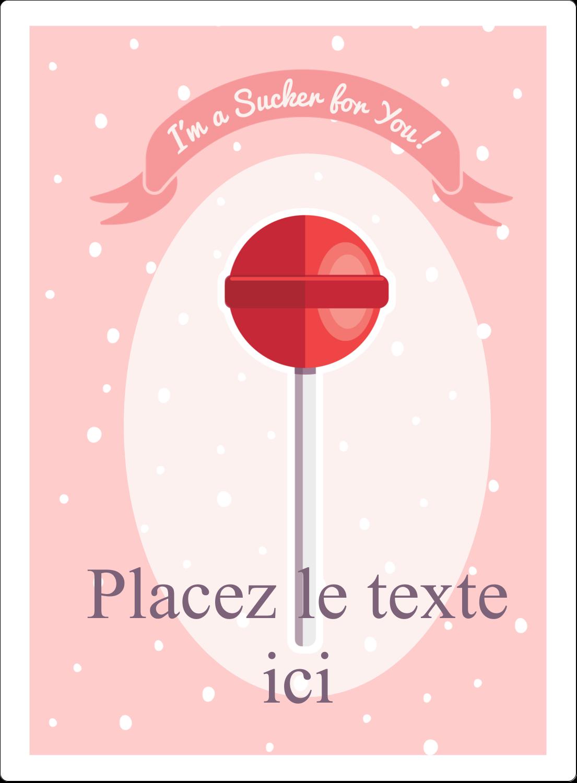 """2½"""" Diameter Étiquettes rondes - Sucette de Saint-Valentin"""