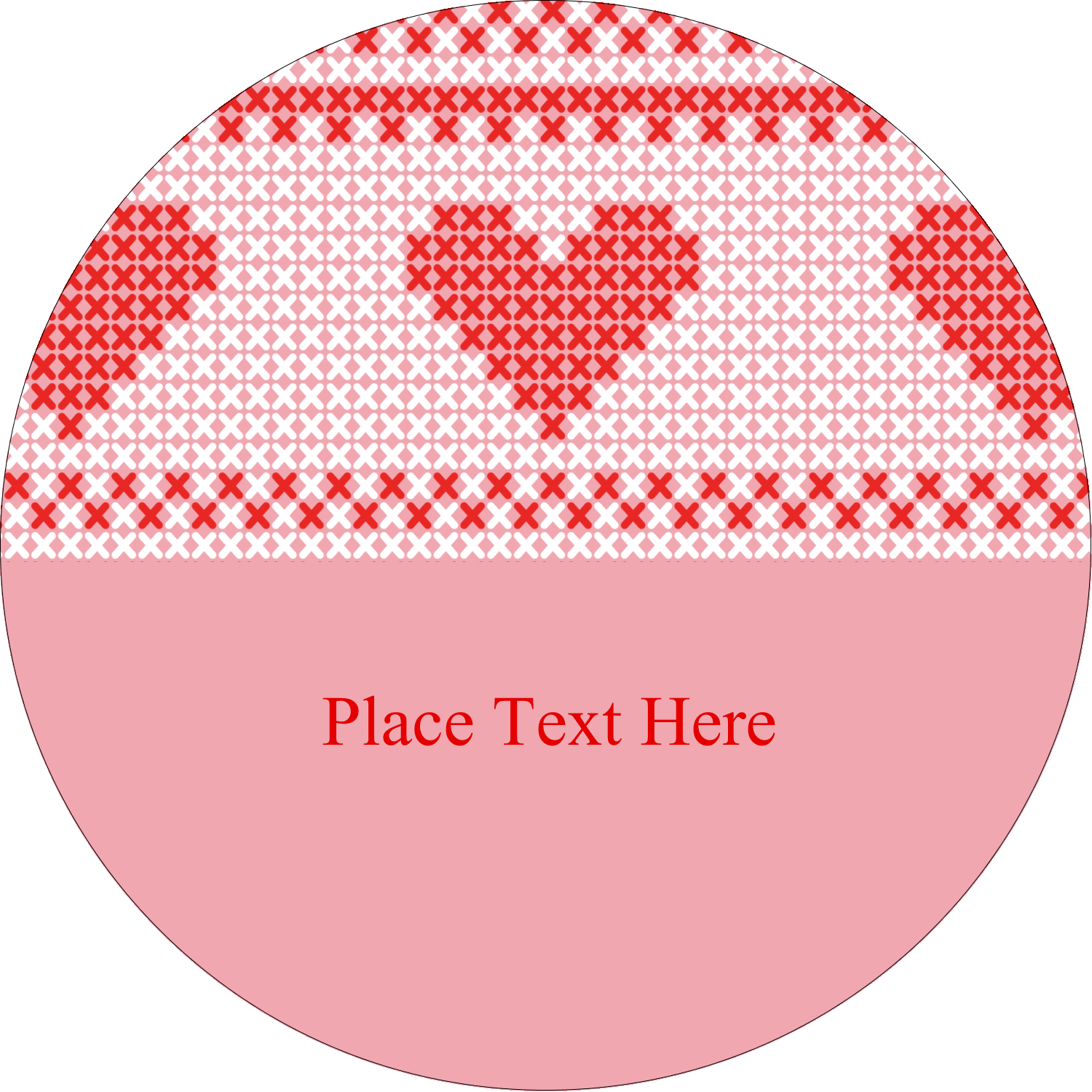 "3"" Round Label - Valentine Cross Stitch"