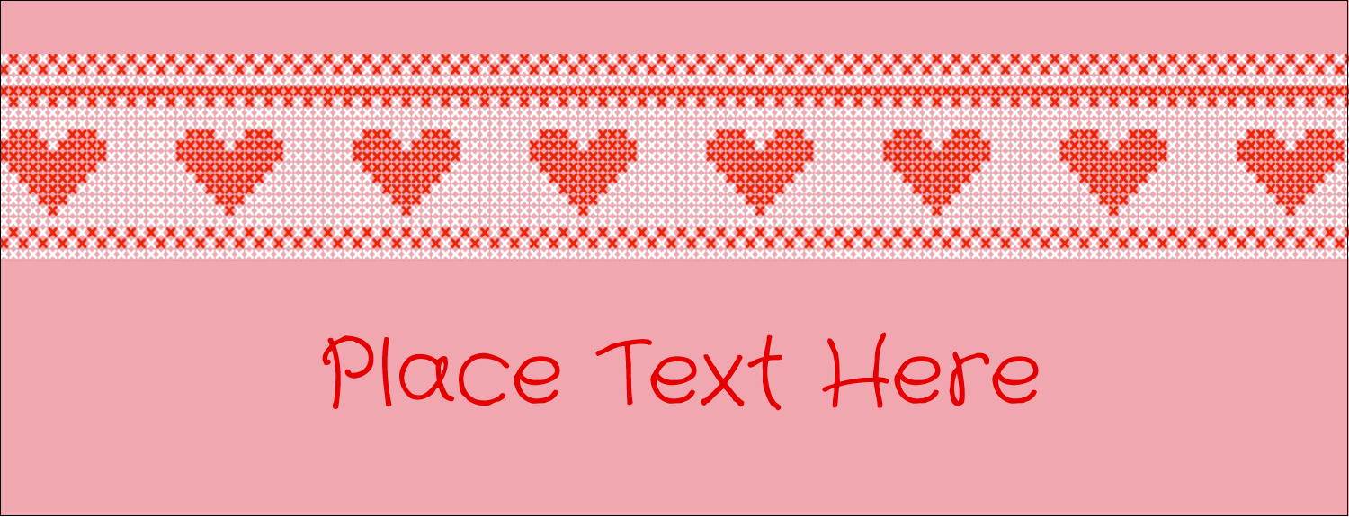 "1-7/16"" x 3¾"" Tent Card - Valentine Cross Stitch"