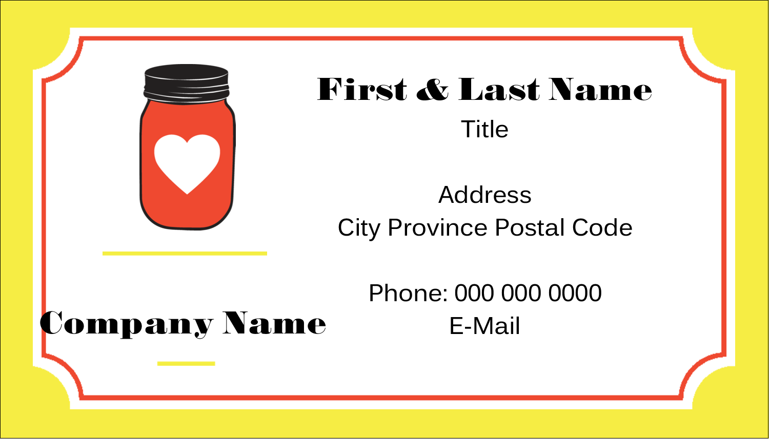 """2"""" x 3½"""" Business Card - Canned"""
