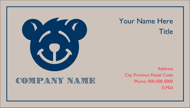 "2"" x 3½"" Business Card - Bear Blue"