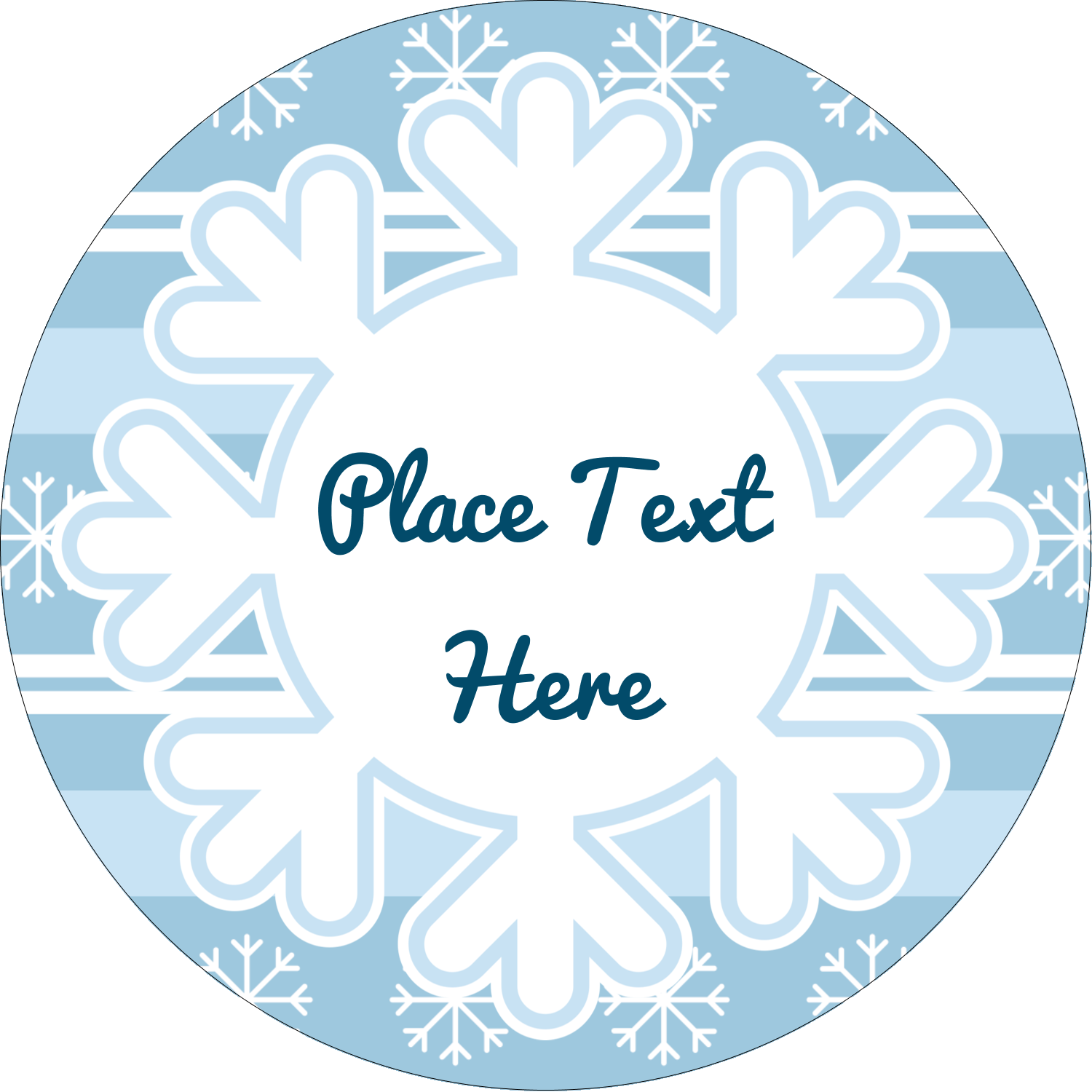 "1½"" Round Label - Blue Snowflake"