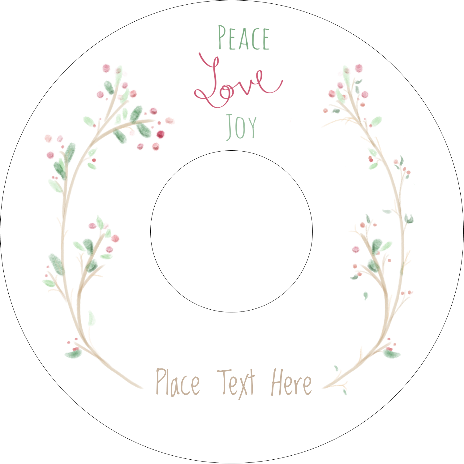 "4.65"" CD-DVD Label - Peace Love Joy"