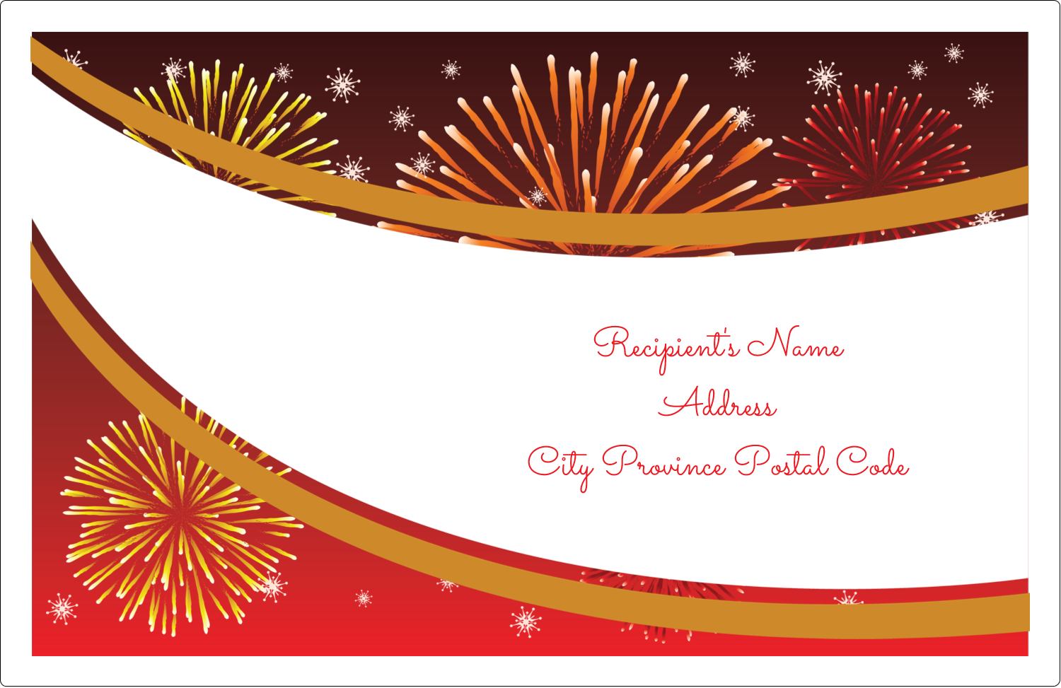 "5½"" x 8½"" Shipping Label - New Year Red Fireworks"