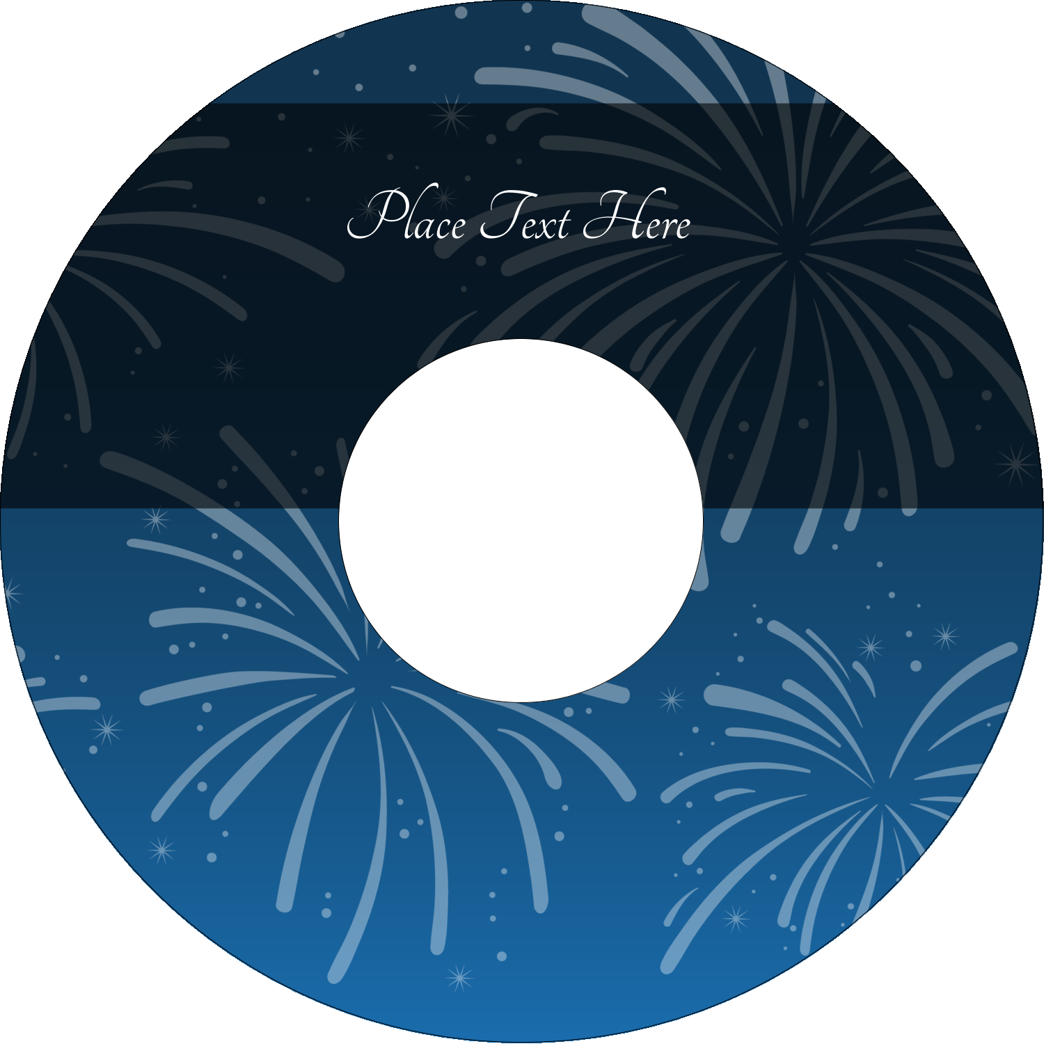 "4.65"" CD-DVD Label - New Year Blue Fireworks"