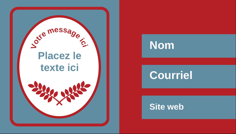 """3½"""" x 2"""" Carte d'affaire - Feuillage rouge et gris"""