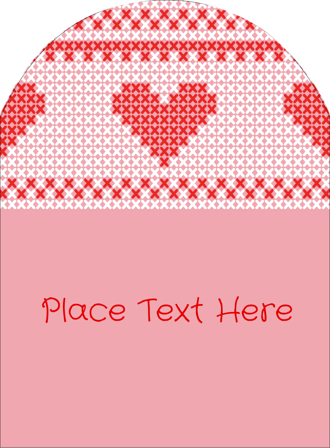 "4¾"" x 3½"" Arched Label - Valentine Cross Stitch"