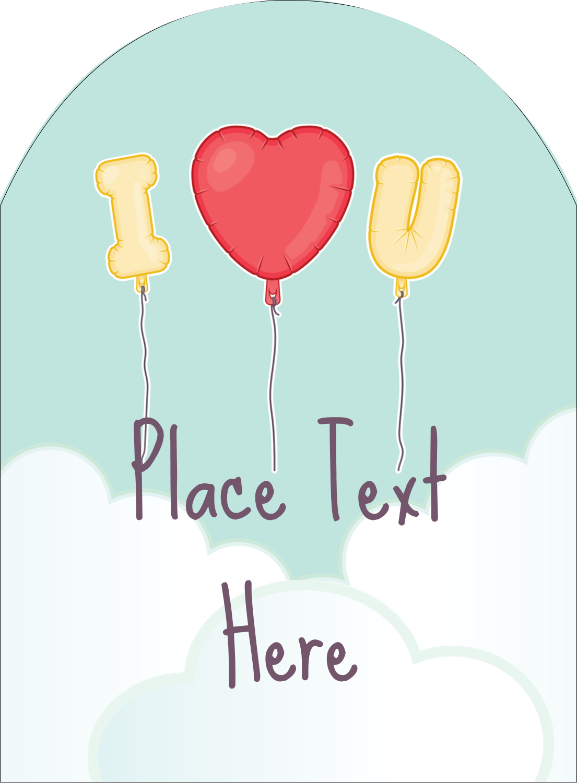 "4¾"" x 3½"" Arched Label - Valentine Balloon Love"
