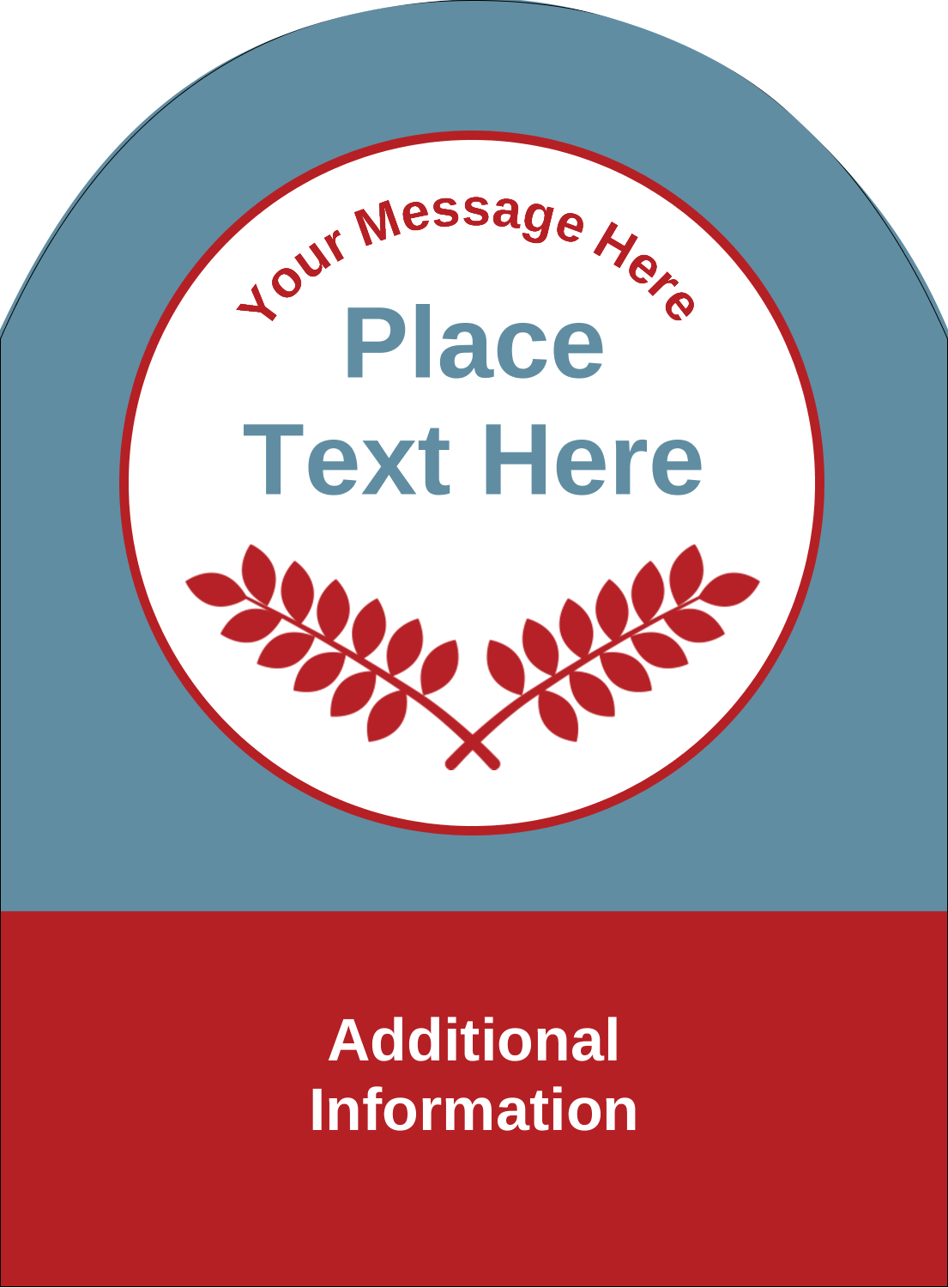 "4¾"" x 3½"" Arched Label - Grey Red Foliage"