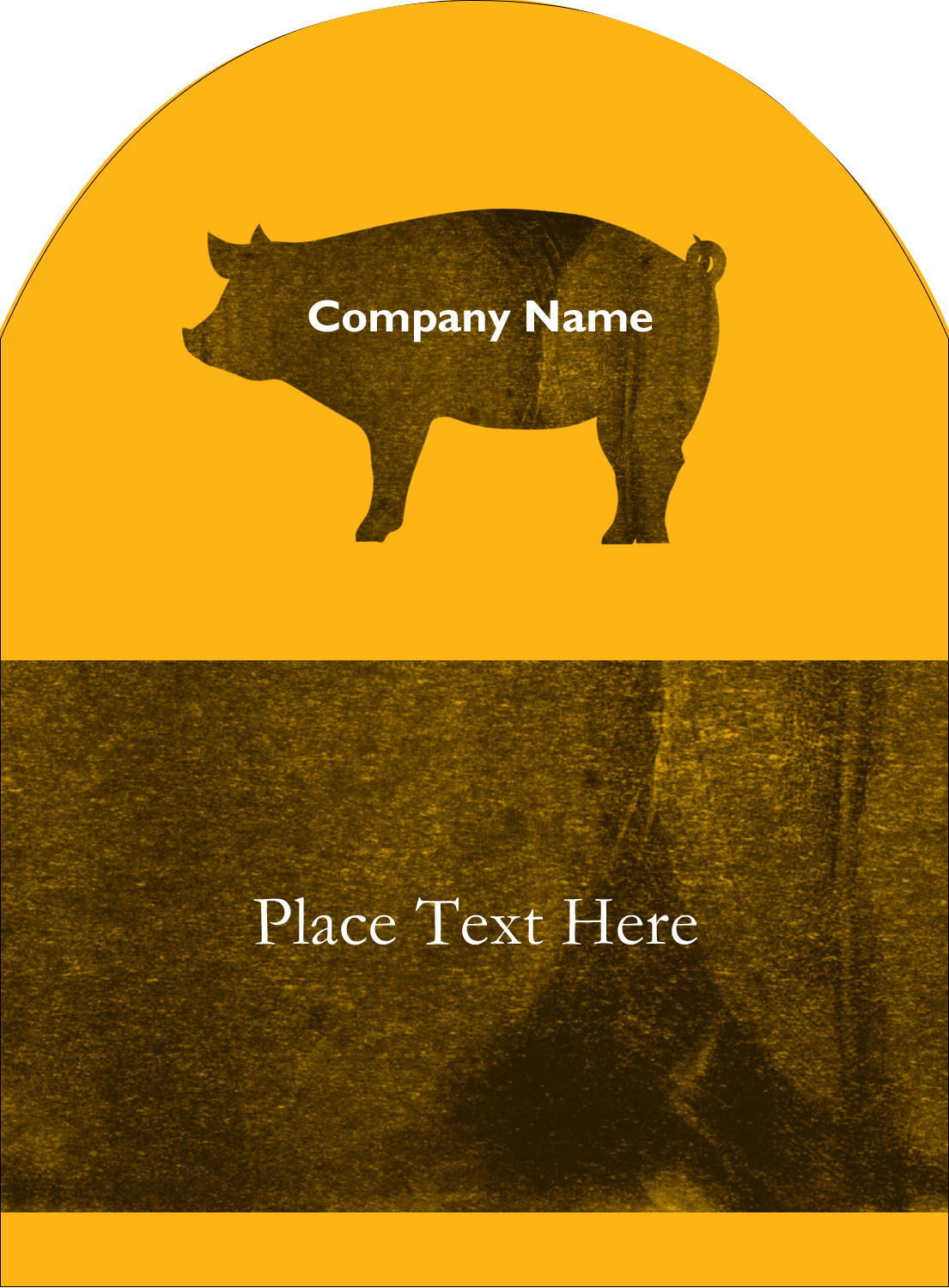 "4¾"" x 3½"" Arched Label - Pig Roast BBQ"