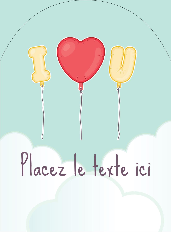 """4¾"""" x 3½"""" Étiquettes rectangulaires - Ballon d'amour de Saint-Valentin"""