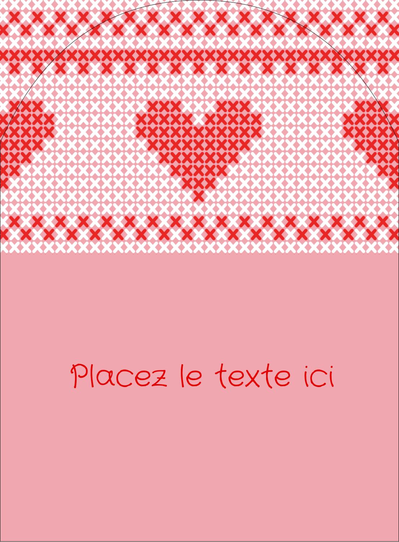 """4¾"""" x 3½"""" Étiquettes rectangulaires - Saint-Valentin en point de croix"""
