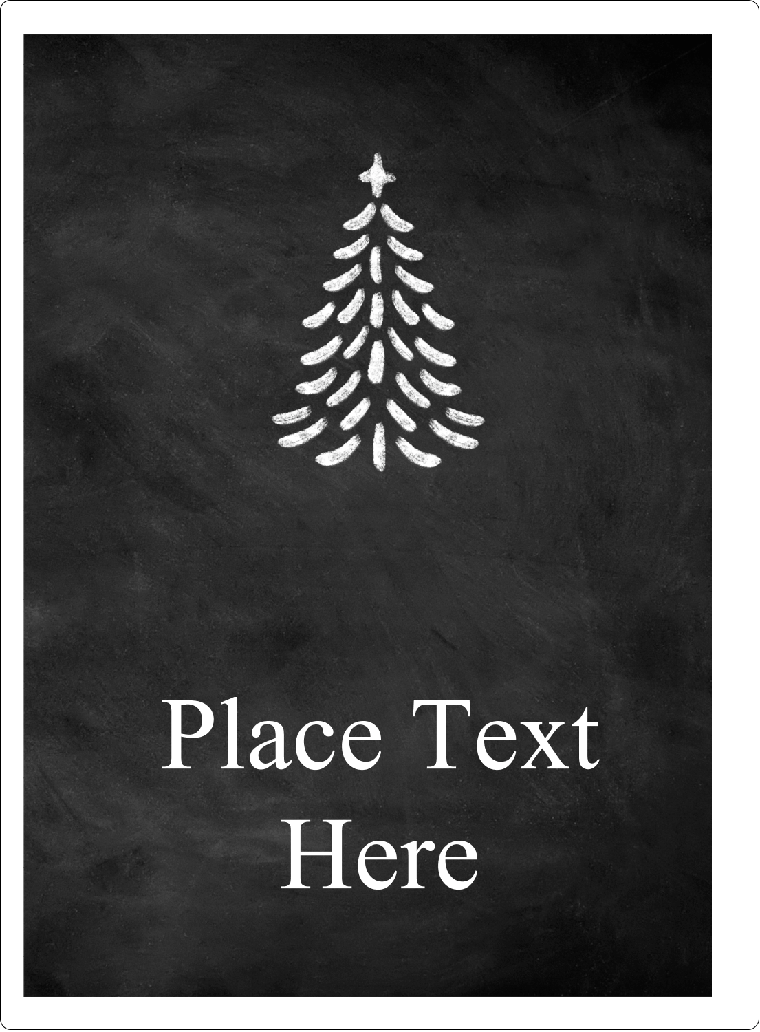 "4¾"" x 3½"" Rectangular Label - Chalkboard Tree"