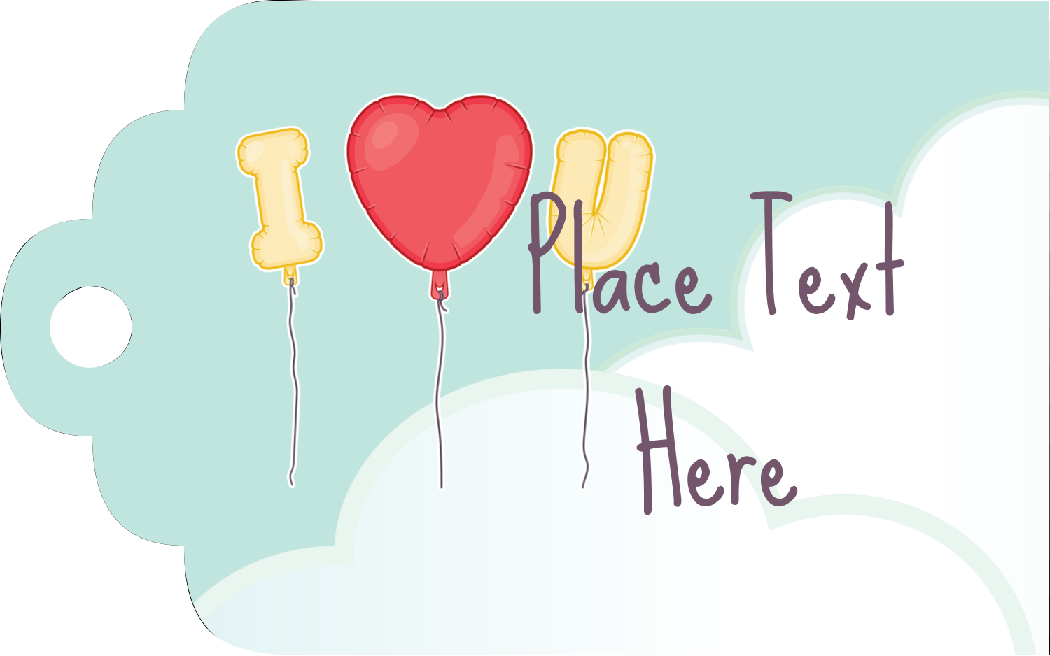 "2"" x 1⅛"" Printable Tags - Valentine Balloon Love"