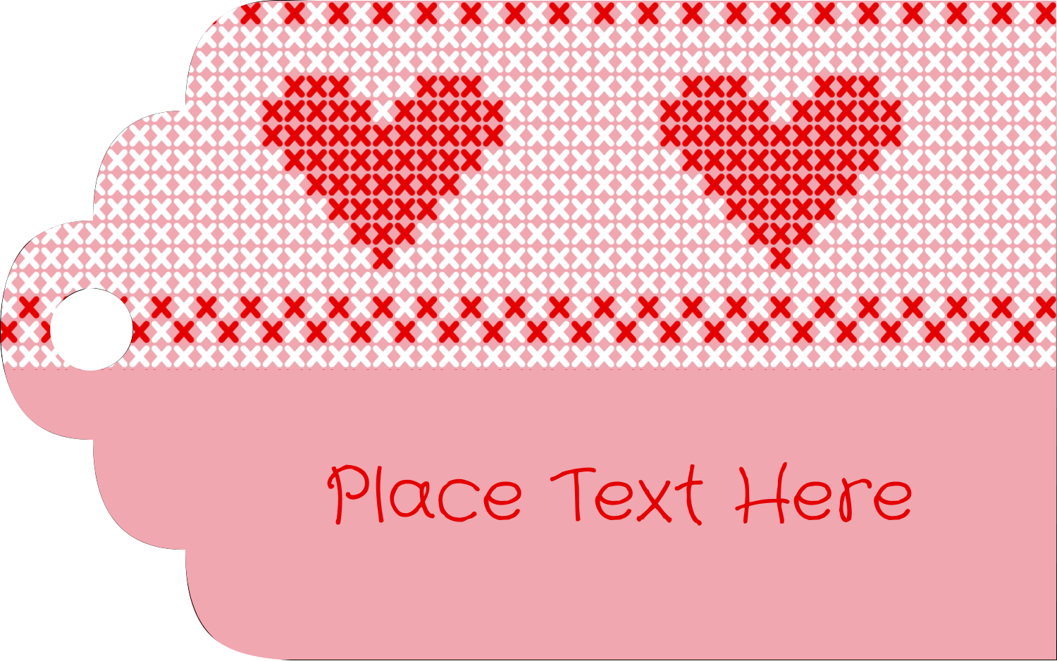 "2"" x 1⅛"" Printable Tags - Valentine Cross Stitch"