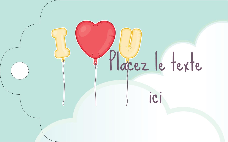 """2"""" x 1⅛"""" Étiquettes imprimables - Ballon d'amour de Saint-Valentin"""