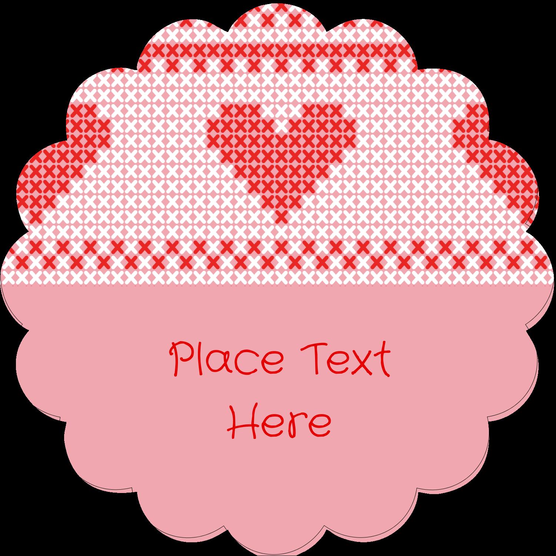 "2½"" Scallop Labels - Valentine Cross Stitch"